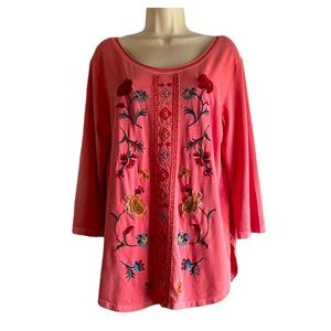 Caite Floral Embroidered Tunic Top